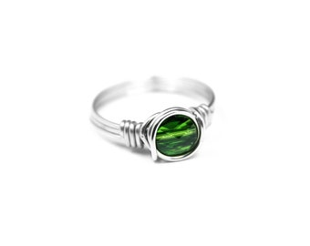 Swarovski Crystal ring, Green Crystal, Sterling Silver Wire, Green Ring, Wire Wrapped Ring, August Birthstone, Peridot Stone Ring, Size 4-14