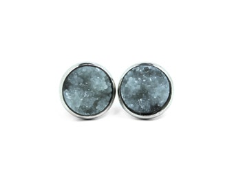 Faux Druzy Stud Earrings, Gray Studs, Stainless Steel Studs, Druzy Stud Earrings, Boho Jewelry, Silver Stud Earrings, Boho Chic