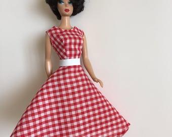 Handmade Vintage Barbie Doll Clothes Dress Faux Leather Belt