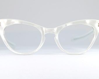 White Pearl Pointed Cat Eye Glasses Frames 1950s Atomic Star White Pearl Sunglasses