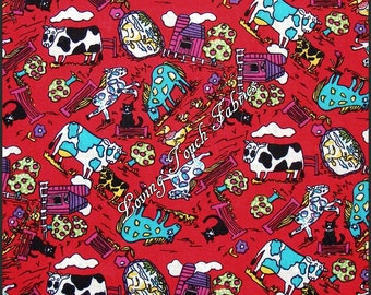 "Country Farm Animals Cows Horses Cats Scenic Cotton Fabric 1/2 Yd. 18"" x 44"""