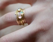 Stacking rings, opal, hammered, thin rings, dainty, delicate //  YOUR DAILY STACK