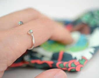 open ring, opal, sterling silver, stacking ring, two stone ring // GALAXIES APART RING