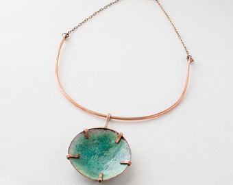 Enamel necklace - turquoise statement necklace - torch fired enamel jewelry - hand enameled