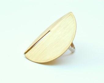 Rae Ring - Large Knuckle Guard Ring, Bent Brass Circle, Lunar Phase