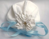 White Drawstring Bag, Pretty Vintage Cotton, Flower Girl Purse, Small Bride's Bag, Something Old, Something New, Something  Blue