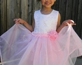 Pink, Lace Flower Girl Dress