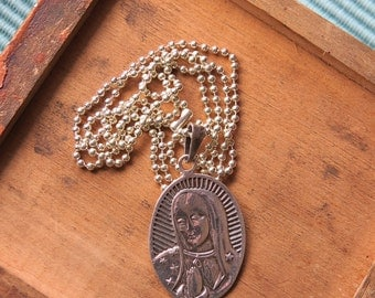 "Vintage 925 GUADALUPE Pendant on Sterling Silver Plated 24"" Ball chain- Souvenir from the Basillica"