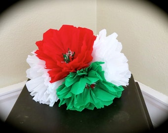 "Huge Bouquet MEXICO Colorful Paper Flowers- 4 paper 8"" flowers - no mason jar- Perfect for your Mexican altar"