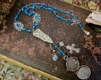 Endearing Young Charms:  Rosary Style Necklace Vintage Assemblage Choker Adjustable Turquoise Crystals Ornate CROSS Locket Rosary Style