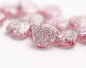 Pink Silver Carved Acrylic Heart Beads 16mm (12)