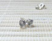 White Topaz Stud Earrings Sterling Silver 4mm