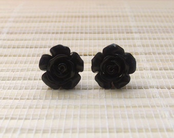 Black Resin Flower Cabochon Studs Sterling Silver 12mm