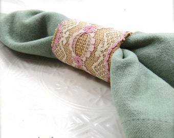 Burlap Rose Lace Napkin Ring - Dinner Party - Weddings