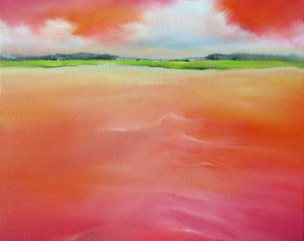 "Modern, landscape, coral, coastal decor, beach artwork, cloud painting, ""Coral Sea, Distant Land"" 10x10"