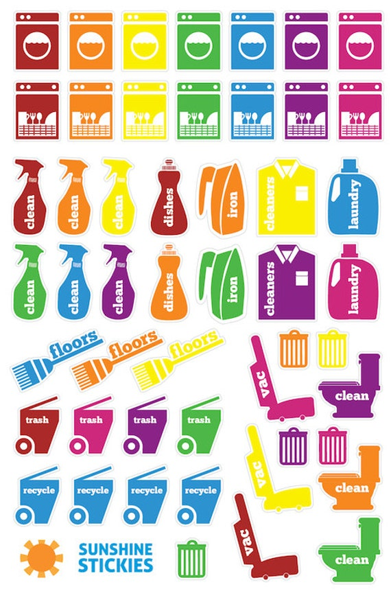 Items similar to 50 Cleaning & Laundry Planner Stickers ...