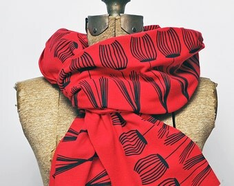 Red Mid Century Modern Tulip Scarf - Screen Printed (Jersey)