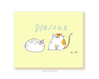Bonjour Cats - Two Cats - Funny Cat Card - Hello Card - Paris