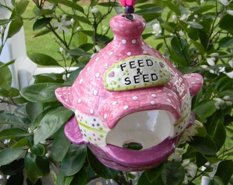 Hanging Fairy House House or bird  Feeder .Bright Pink Green    Ceramic Pottery  ((( Ready to Ship )))