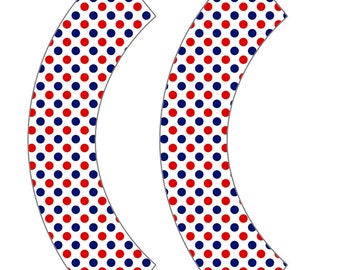 July 4th Red White and Blue Polka Dot Cupcake Wrappers
