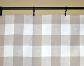 Reserved for Katie - Window Valance Curtain in Buffalo Check Anderson Ecru, White Cafe Curtain with lace trim