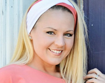 Yoga  Twist Headband  Coral/ White, Denim White, or Black/ White