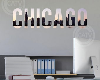 Chicago Lettering Skyline vinyl wall decal