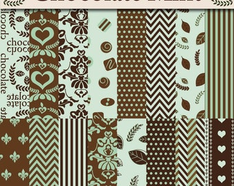 Chocolate Mint Scrapbook Paper - Digital Paper Pack - Brown and Mint Green Paper - 16 Digital Papers - Instant Download - Damask and chevron