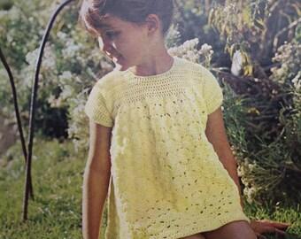 Crochet Pattern Vintage 1960s 1970s Girls Lacy Dress Baby Toddler Child's Dress 1 2 3 years - 60s 70s original pattern Robin 1963 UK