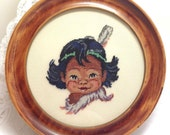 Vintage Adorable Little Native Boy with Feather in hair - Round Wooden Frame -  Completed Framed Hand Stitched