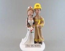 Firefighter & Nurse Custom Wedding Cake Topper