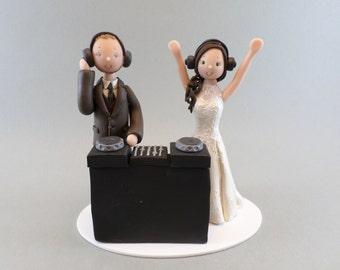 Bride & Groom Personalized DJ Theme Wedding Cake Topper
