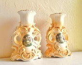 Beautiful Ornate Ceramic Candlestick with Gold Details Fancy Vintage 2 Two