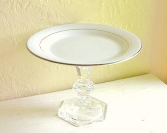 Elegant White and Silver Pedestal Dish Cut Glass Base
