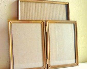 Gold Brass Patina Metal Picture Frames for Shelf or Table 8x10 5x7 Bi-fold Filigree