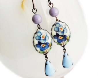 Blue Flower Earrings Vintage Floral Cameo Earrings Forget-Me-Not Jewelry Blue Flower Jewelry Victorian Light Blue Bridal Wedding Jewelry