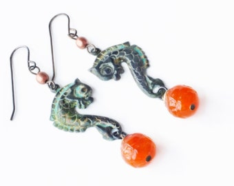 Seahorse Earrings Vintage Style Sea Horse Verdigris Earrings Orange Green Patina Jewelry Victorian Seahorse Dangles