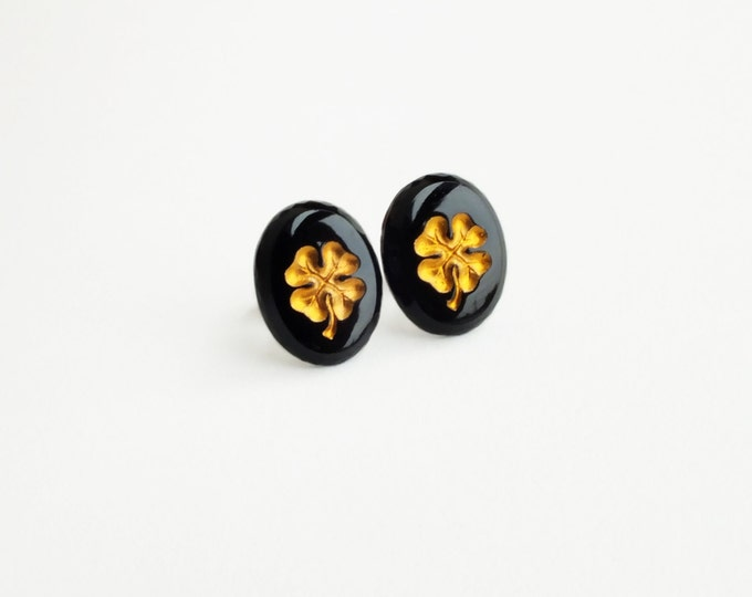 Four Leaf Clover Studs Vintage Glass Post Earrings Large Black Gold Studs Clover Earrings Good Luck Jewelry