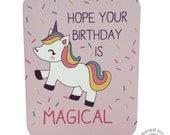 Unicorn 'Hope your Birthday is Magical' birthday card kawaii greeting card cute illustration rainbow sprinkles