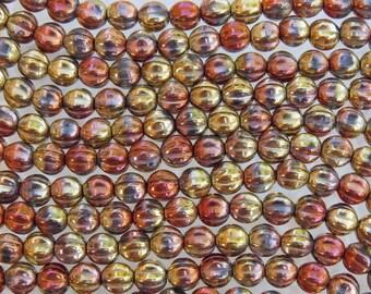 6mm 2 Tone Metallic Gold Rush Czech Glass Melon Beads - Qty 25 (BW172)