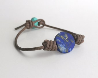 Lapis Lazuli Bracelet. Rustic Brown Leather with Turquoise. Unisex