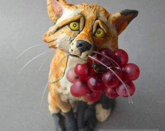 "Red Fox with Grapes Ceramic Sculpture: ""Don't Give Up"""