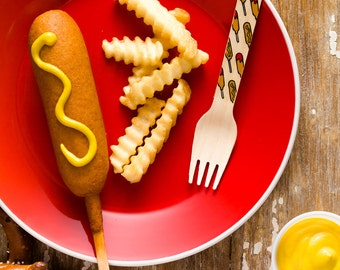 Corn Dogs- Carnival - Set of 12 Wooden Utensils