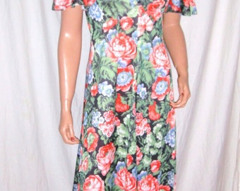 Vintage Green Floral Ruffled Maxi Dress M