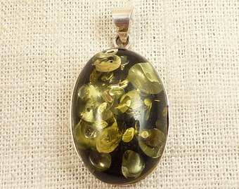 Vintage Sterling and Faux Green Amber Glass Pendant