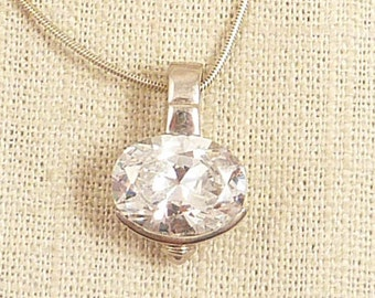 Vintage Faceted Glass Sterling Pendant Snake Chain Necklace