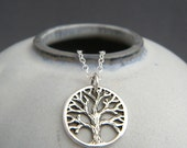 """small rustic silver tree of life necklace. sterling silver nature jewelry boho bohemian pendant antiqued oxidized everyday charm gift 5/8"""""""