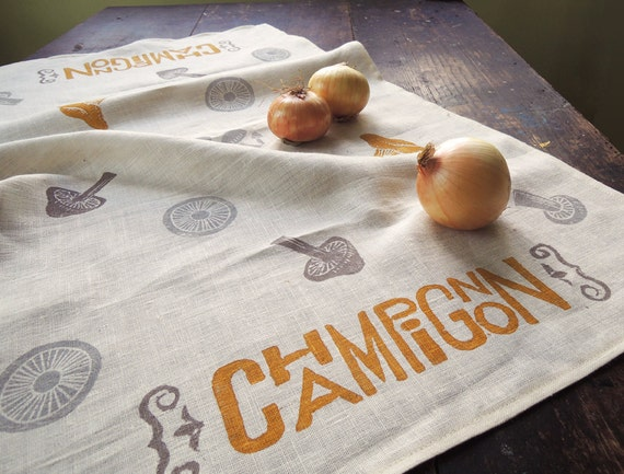 French Country Champignon mushroom hand block printed linen kitchen decor tea towel