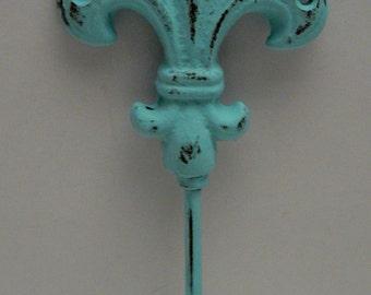 Fleur de lis FDL Cast Iron FDL Cottage Chic Blue Wall Hook Home Decor