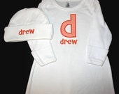 Custom Personalized Applique Initial and Name Infant GOWN and HAT SET - Choose Your Gingham Color